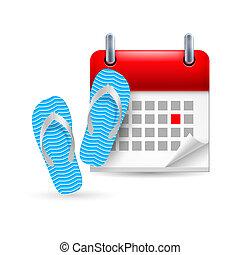 Calendar with flip flops