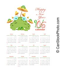 Calendar with frogs and mushrooms