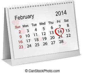 Calendar with hand written red heart. February 14 of Saint ...