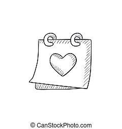 Calendar with heart sketch icon.