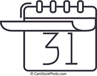 calendar with list vector line icon, sign, illustration on background, editable strokes