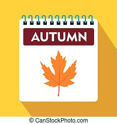 Calendar with maple leaf icon, flat style