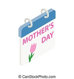 Calendar with Mother Day date isometric 3d icon