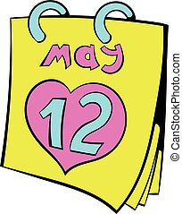 Calendar with Mothers Day date icon cartoon