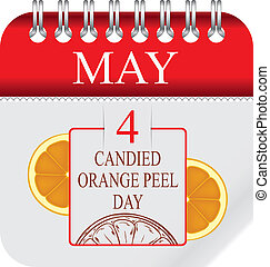 Calendar with perforation for changing dates - may - Candied Orange Peel Day