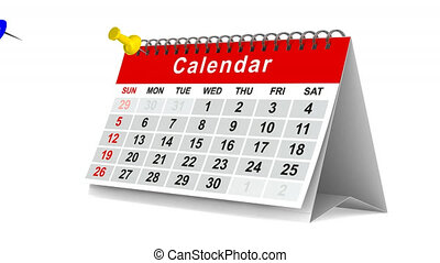 Calendar with pins on white background. 3D render