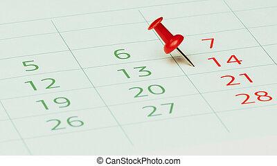 Calendar with push pin