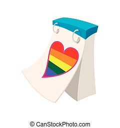 Calendar with rainbow heart cartoon icon