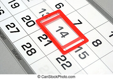 calendar with red mark on 14 February. Valentine's day concept
