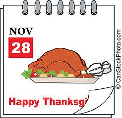Calendar With Roasted Turkey
