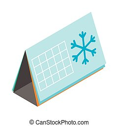 Calendar with snowflake icon, isometric 3d style