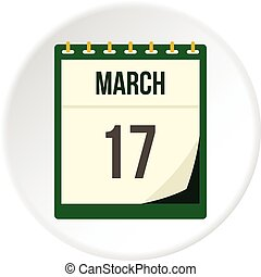 Calendar with St. Patrick Day date icon circle