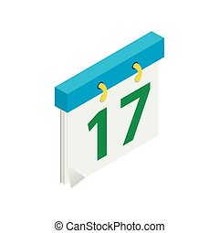 Calendar with St. Patrick Day date isometric icon