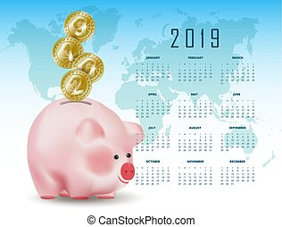 Calendar with Symbolic shiny metal golden coins with numbers 2019 falling into money piggy bank. Conceptual realistic vector illustration on background with world map.