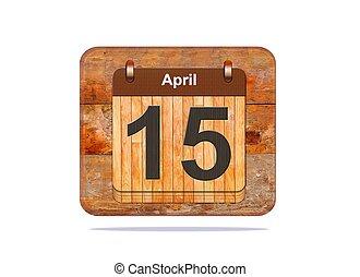 April 15. - Calendar with the date of April 15.