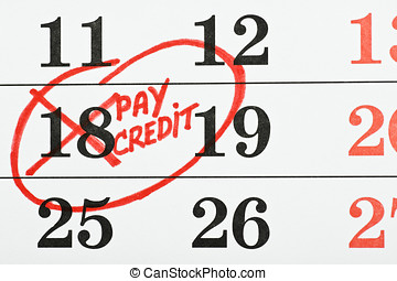 calendar with the date of payment of the credit
