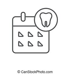 Calendar with tooth vector icon symbol isolated on white background