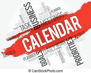 Calendar word cloud business concept