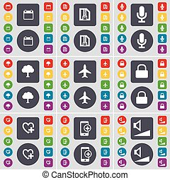 Calendar, ZIP file, Microphone, Tree, Airplane, Lock, Heart, Smartphone, Volume icon symbol. A large set of flat, colored buttons for your design. Vector