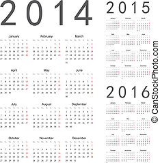 calendari, vettore, anno, 2016, 2015, 2014, europeo