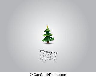 calendario, árbol, navidad, mínimo