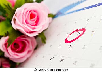 calendario, 14, el, día de valentín