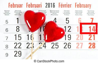 calendario, 14, febrero, día de valentines, rojo, corazones