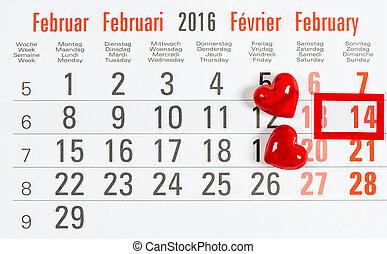calendario, 14, february., rojo, hearts., día de valentines