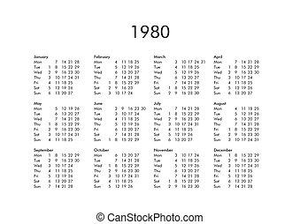 Calendario Anno 1980.Calendario 2019 Anno Tutto Mesi 2019 Anno Civile