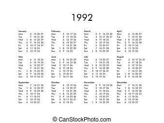 Calendario Anno 1992.Calendario 2019 Anno Tutto Mesi 2019 Anno Civile