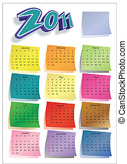 calendario, 2011, colorido, post-it