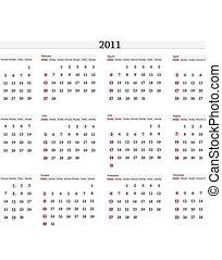 calendario, 2011, plantilla