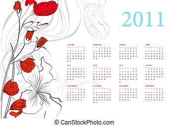 calendario, 2011, romántico