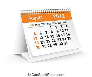 calendario, 2012, agosto, scrivania