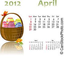 calendario, 2012, con, cesti