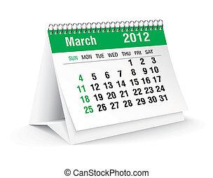 calendario, 2012, marzo, escritorio