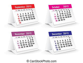 calendario, 2012, scrivania