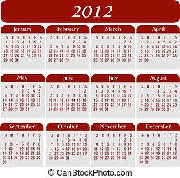 calendario, 2012