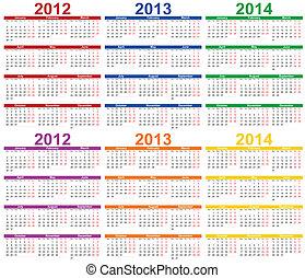calendario, -, 2013, 2012