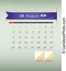 calendario, 2013, diseño, agosto, cinta