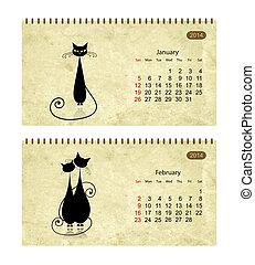 calendario, 2014, con, nero, gatti, su, grunge, paper., gennaio, e, febbraio