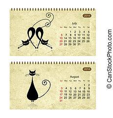 calendario, 2014, con, nero, gatti, su, grunge, paper., luglio, e, agosto