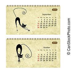 calendario, 2014, con, nero, gatti, su, grunge, paper., novembre, e, dicembre