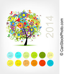 calendario, 2014, con, quattro, stagione, albero, per, tuo, disegno