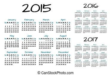 calendario, 2015-2016-2017, inglés