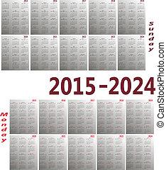 calendario, 2015-2024