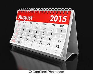 calendario, -, 2015, agosto