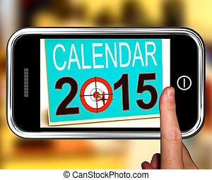 calendario, 2015, en, smartphone, actuación, futuro planea