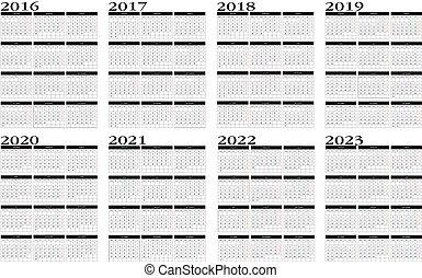 calendario, 2016, 2023