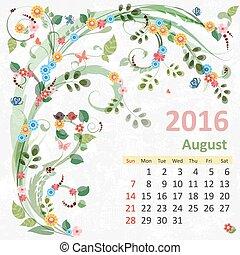 calendario, 2016, agosto